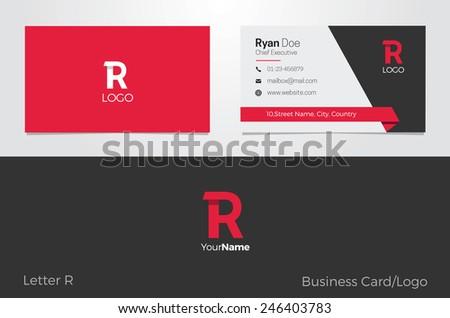 R Letter Logo Business card - stock vector