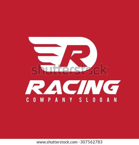 R logo,Racing logo,Automotive logo,Speed,Sports,Vector logo template. - stock vector