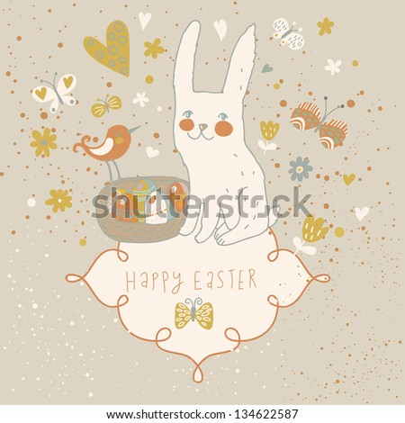 Rabbit, bird, flowers and butterfly - cute cartoon vector background. Easter concept card in vintage colors - stock vector
