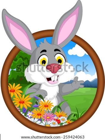 rabbit cartoon in frame - stock vector