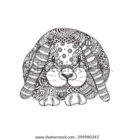 Rabbit. Hand-drawn rabbit with ethnic floral doodle pattern. Coloring page - zendala, design for spiritual relaxation for adults, vector illustration, isolated on a white background. Zen doodles. - stock vector