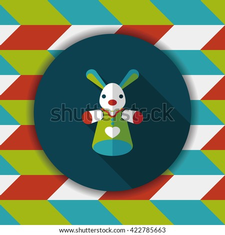 rabbit hand puppet flat icon with long shadow,eps10 - stock vector