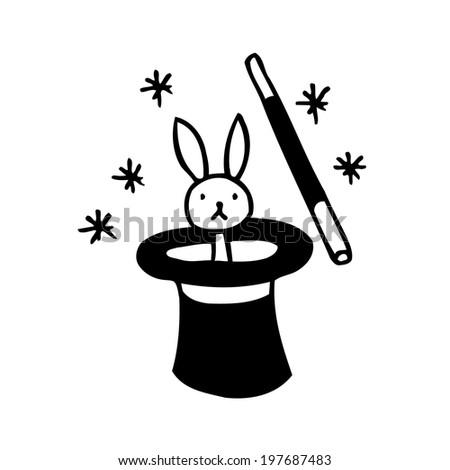 rabbit in magician hat - stock vector