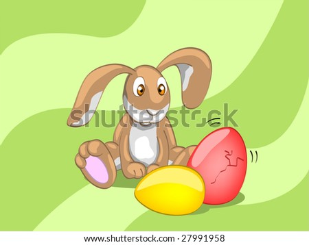 rabbit looking on the egg (editable layers) - stock vector