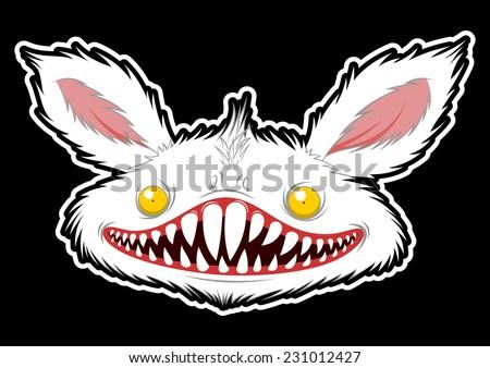 rabbit monster head on black background - stock vector