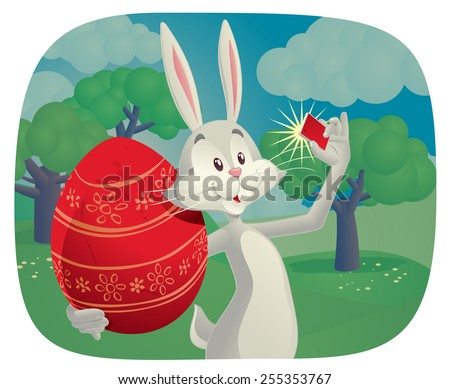 Rabbit Takes Selfie with Easter Egg Vector Cartoon - Vector cartoon of funny rabbit holding Easter egg and taking a picture  - stock vector