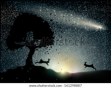 Rabbits fall in love / Romantic card with comet on the sky - stock vector