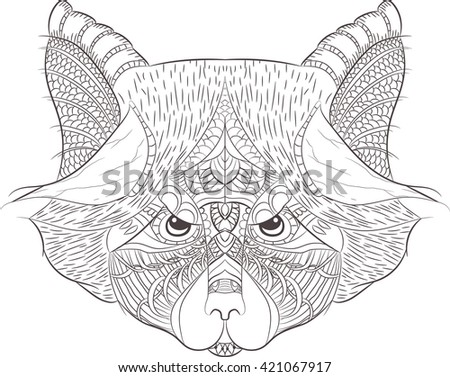 Raccoon outline. Hand drawn in doodle, zenart style. Coloring page design for relaxation and meditation for adults. zentangle - stock vector