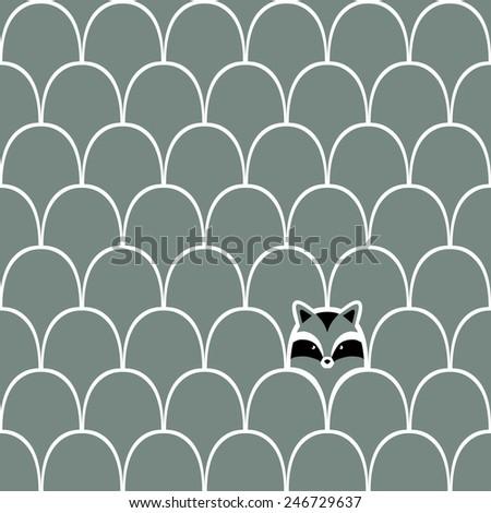 Raccoon seamless cartoon pattern - stock vector