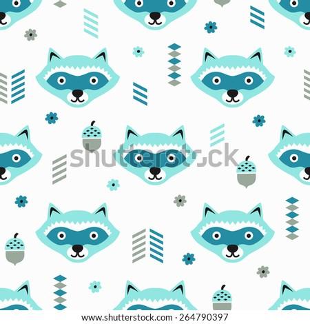 Raccoon seamless pattern. Vector illustration. - stock vector
