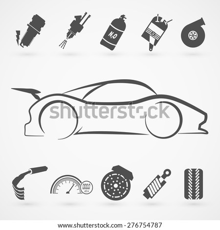 Race car logo hand draw with many modification item.(EPS10 Art vector) - stock vector
