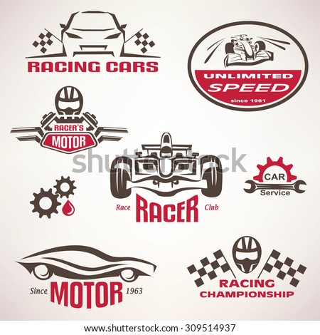 race cars, racing emblem and label set, vector symbols collection - stock vector