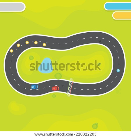 Race game field landscape with vector asset objects - stock vector