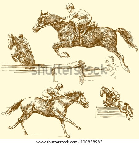 race horses - stock vector