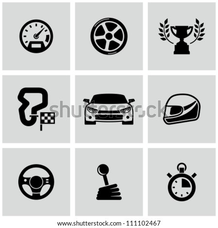 Race icons set - stock vector