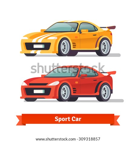 Race sport car. Supercar tuning. Flat style vector illustration isolated on white background. - stock vector