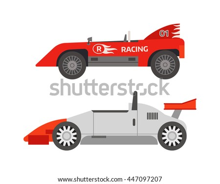 Race sport car. Supercar tuning sport car and flat style vector sport car illustration isolated on white background. Fast car vehicle automobile classic transport design. - stock vector