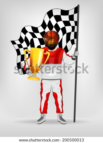 racer in red overall holding checked flag and cup with helmet vector illustration - stock vector