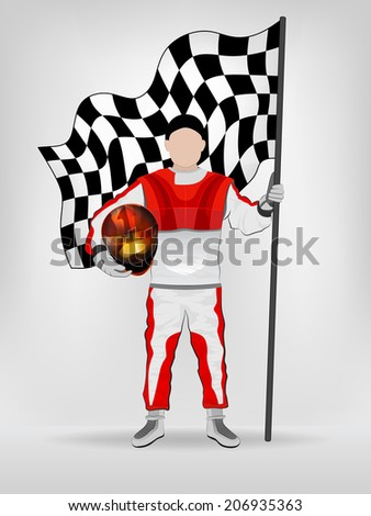racer in red overall holding checked flag and helmet vector illustration - stock vector