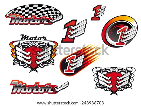 Racing and motocross emblems or symbols with checkered flags, number one and exhaust - stock vector