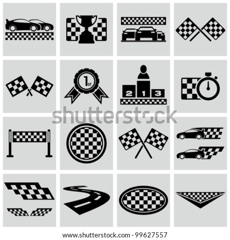 Racing and speed related icons set. Vector racing checkered graphic elements. - stock vector