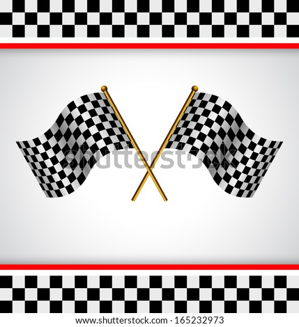 Racing background with two race flag  - stock vector