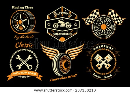 Racing badges. Themed logos, and service of the race cars and motorcycles. Vector illustration - stock vector