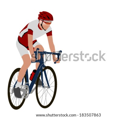 racing bicyclist illustration - stock vector
