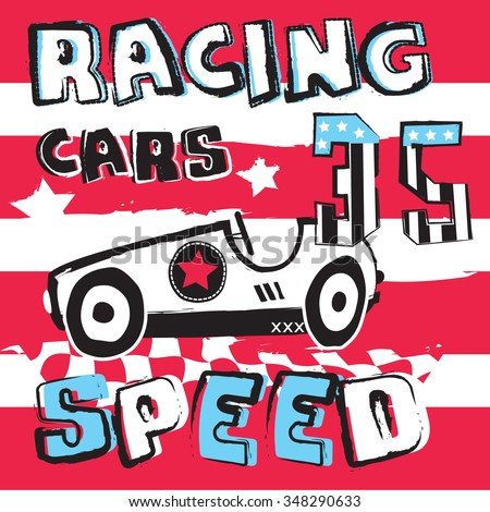 racing car on striped background vector illustration - stock vector