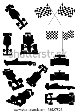 Racing Car Silhouette Set - stock vector