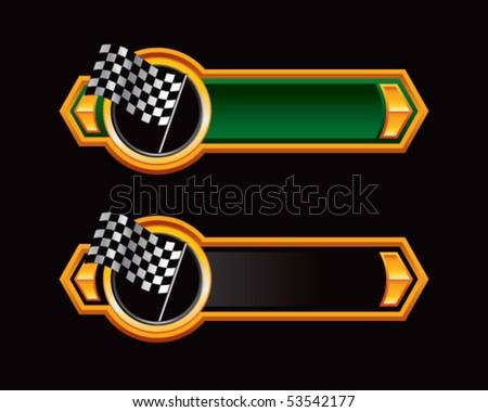 racing checkered flag green and black arrows - stock vector