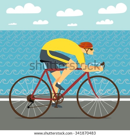 Racing cyclist riding on the road near the sea. Fast road biker. Editable vector illustration.  - stock vector