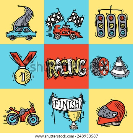 Racing design concept set with auto sport sketch decorative icons isolated vector illustration - stock vector