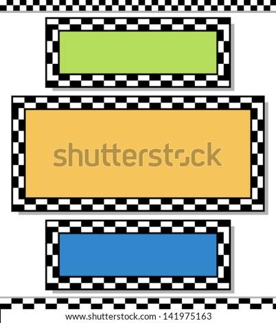 Racing design elements / checkered frames, border vector - stock vector