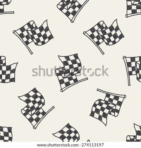 racing flag doodle seamless pattern background - stock vector