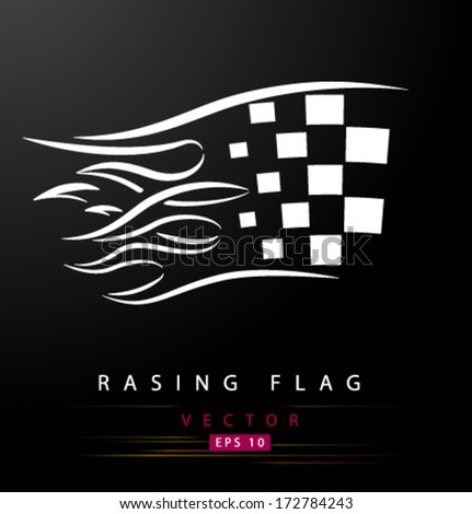 Racing flag with flames - stock vector