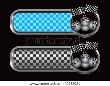 racing flags and tires on diamond textured banners - stock vector