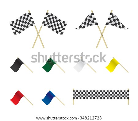 Racing flags set illustration - stock vector
