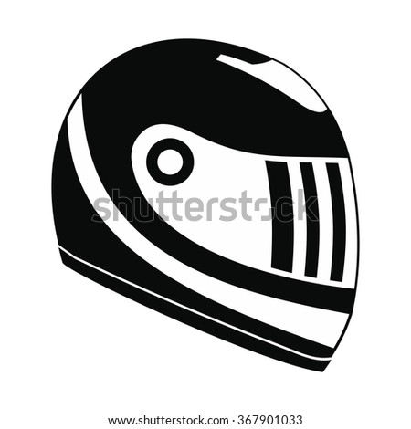 Racing helmet black simple icon isolated on white background - stock vector