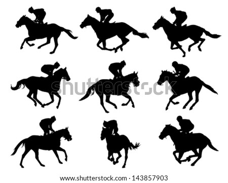 racing horses and jockeys silhouettes - stock vector