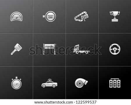 Racing icon series in metallic style - stock vector
