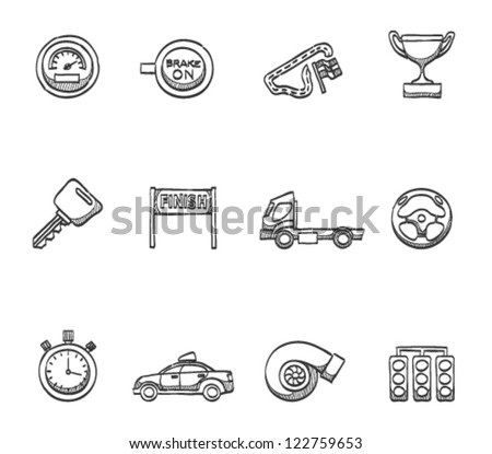 Racing icon series in sketch - stock vector