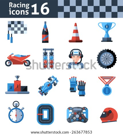 Racing icons set with motorcycle trophy helmet winner medal isolated vector illustration - stock vector