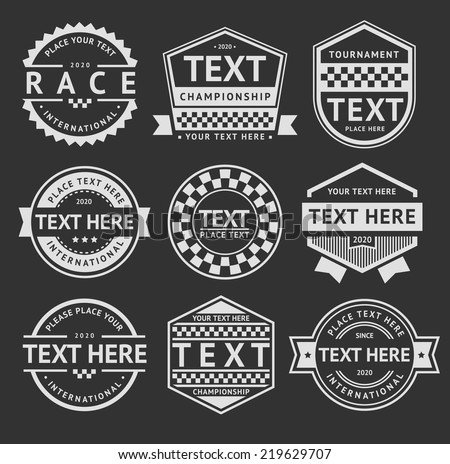 Racing insignia set, vintage style 03 - stock vector