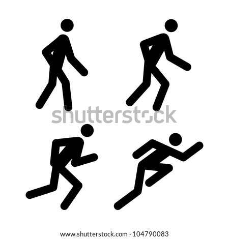 Racing, Jogging, Running, Walking - Vector Pictogram Illustrations (jpeg file has clipping path) - stock vector