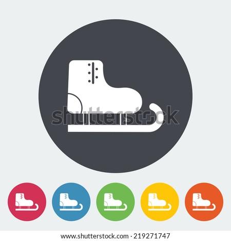 Racing skates. Single flat icon on the circle. Vector illustration. - stock vector