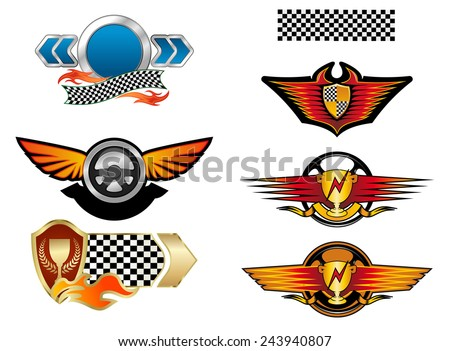 Racing sports emblems and symbols with checkered flag, fire flames, wings and trophy cups - stock vector