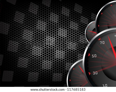 Racing vector vintage background with speed tachometers - stock vector
