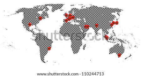Racing World Tour Map - stock vector