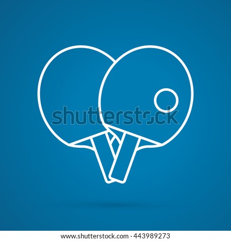 Rackets for playing ping pong table tennis outline graphic vector. - stock vector